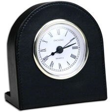 Classic Leather Clock - Black with Gold Accents