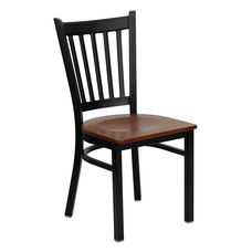 Black Vertical Back Metal Restaurant Chair with Cherry Wood Seat
