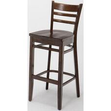 4500 Series Hardwood Frame Armless Cafe Barstool with Ladder Back and Wood Seat