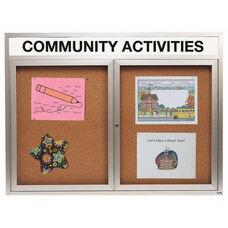 2 Door Indoor Enclosed Bulletin Board with Header and Aluminum Frame - 48