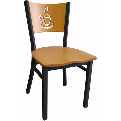 Our Wood Back with Cup Cutout Armless Metal Dining Chair - Natural Finish is on sale now.
