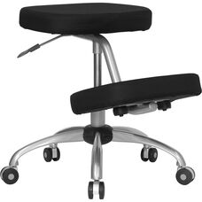 Mobile Ergonomic Kneeling Office Chair with Silver Frame in Black Fabric
