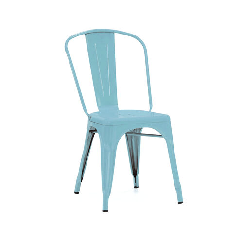 Our Dreux Matte Cyan Stackable Steel Armless Side Chair - Set of 4 is on sale now.