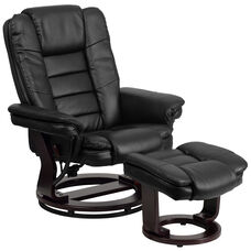 Contemporary Multi-Position Recliner with Horizontal Stitching and Ottoman with Swivel Mahogany Wood Base in Black Leather