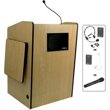 Multimedia Wireless 150 Watt Sound and Microphone Presentation Podium - Maple Finish - 33