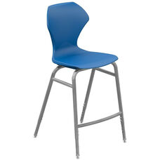 Apex Series Plastic Height Adjustable Stool with Foot Rest - Blue Seat and Gray Frame - 21