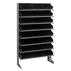 Sloped Shelving Single Sided Pick Rack Unit with 24 Bins - Black