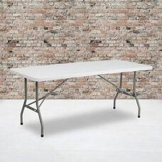 6-Foot Bi-Fold Granite White Plastic Folding Table