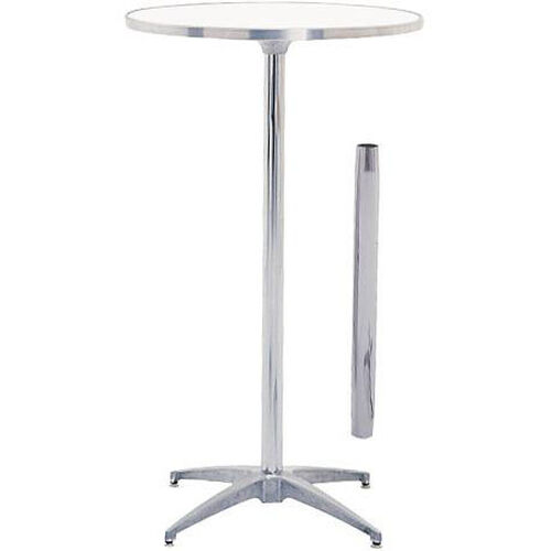 Our Standard Series Round Height Adjustable Pedestal Table with Aluminum Edge, Chrome Plated Steel Column, and Mayfoam Top - 24