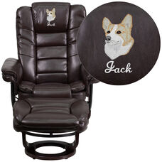 Embroidered Contemporary Brown Leather Recliner and Ottoman with Swiveling Mahogany Wood Base
