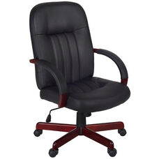 Ethos Height Adjustable Swivel Chair - Black Leather with Mahogany Accents