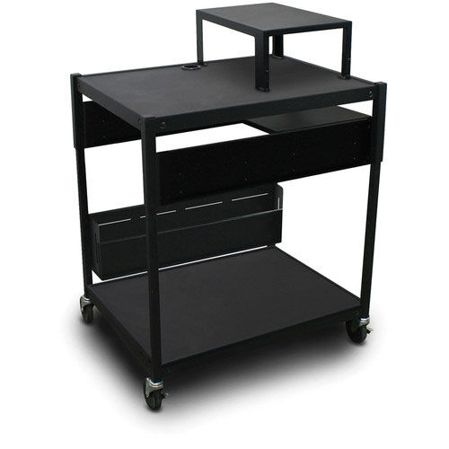 Our Spartan Series Adjustable Cart with One Pull-Out Side-Shelf and Expansion Shelf - Black is on sale now.