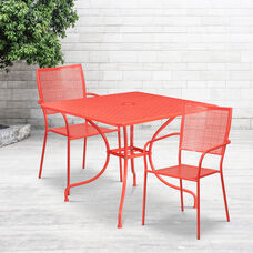 "Commercial Grade 35.5"" Square Coral Indoor-Outdoor Steel Patio Table Set with 2 Square Back Chairs"