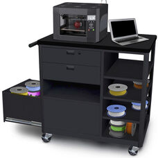 Steel 3D Printer Cart with Two Storage Drawers and Four Side Shelves