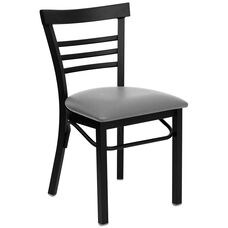Black Ladder Back Metal Restaurant Chair with Custom Upholstered Seat