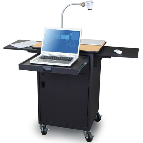 Our Vizion Teaching Presentation Cart with Locking Cabinet and Steel Doors - Dark Neutral Powdercoat Paint and Kensington Maple Laminate is on sale now.