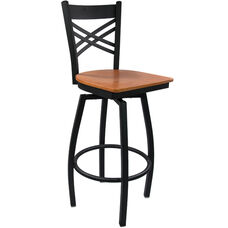 Advantage Cross Back Metal Swivel Bar Stool - Cherry Wood Seat