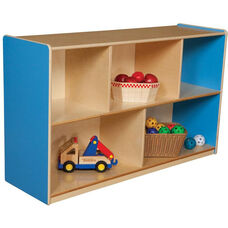 Wooden 5 Compartment Single Mobile Storage Unit - Blueberry - 48