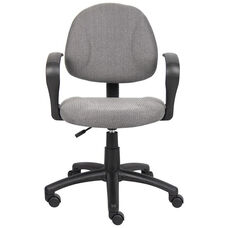 Deluxe Thick Padded Posture Chair with Lumbar Support and Loop Arms - Grey