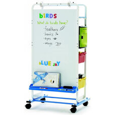 Rolling 12 Port Tech Tub2® Dual Duty Teaching Easel with Large Magnetic Dryerase Board and Adjustable Big Book Ledge - 24.75