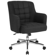 Laone Home and Office Upholstered Mid-Back Chair in Black Fabric