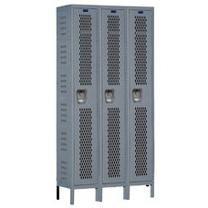 Heavy-Duty Ventilated (HDV) Three Wide Single-Tier Locker - Assembled - Dark Gray - 45