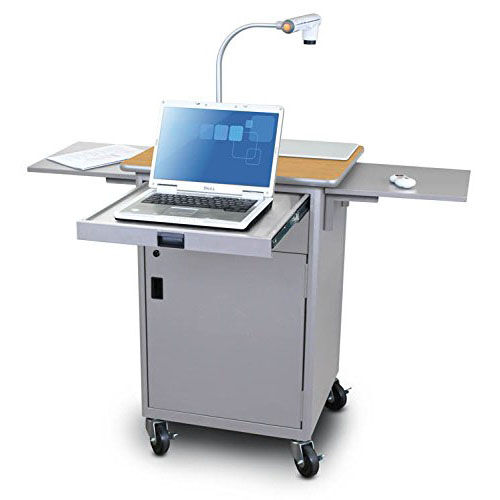 Our Vizion Teaching Presentation Cart with Locking Cabinet and Steel Doors - Silver Powdercoat Paint and Oak Laminate is on sale now.