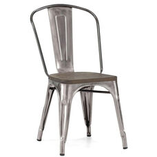 Dreux Clear Gunmetal Stacking Steel Side Chair with Elm Wood Seat - Set of 4