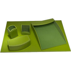 Colors Faux Leather 5 Piece Office Organizing Desk Set - Lime Green