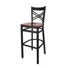 Akrin Metal Cross Back Barstool - Mahogany Wood Seat