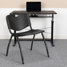 HERCULES Series 880 lb. Capacity Black Plastic Stack Chair