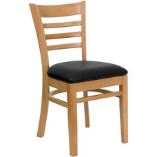 Natural Wood Finished Ladder Back Wooden Restaurant Chair with Black Vinyl Seat