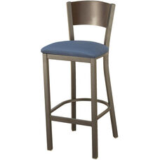 3315C Series Square Steel Frame Armless Cafe Barstool with Contoured Solid Wood Back and Upholstered Seat
