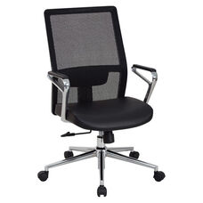 OSP Furniture High Mesh Back and Bonded Leather Seat Managers Office Chair with Padded Polished Aluminum Arms and Chrome Base - Black