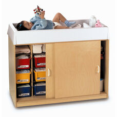 EZ Clean Changing Table and Sliding Door Storage Cabinet with 6 Trays