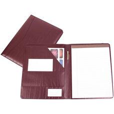 Writing Padfolio Document Organizer - Colorado Old Bonded Leather - Burgundy