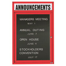 1 Door Outdoor Illuminated Enclosed Directory Board with Header and Red Anodized Aluminum Frame - 36