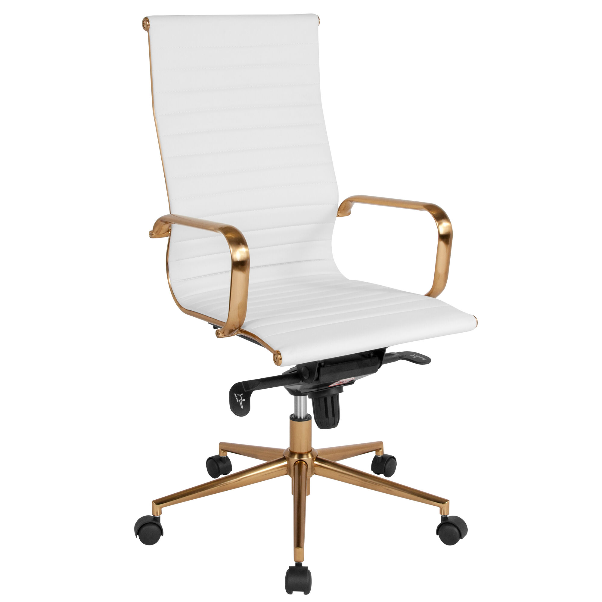 Awe Inspiring High Back White Ribbed Leather Executive Swivel Office Chair With Gold Frame Knee Tilt Control And Arms Alphanode Cool Chair Designs And Ideas Alphanodeonline