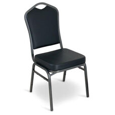 Superb Seating Heavy-Duty Steel Frame Vinyl Upholstered Stacking Chair - Black