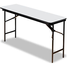 Premium 18'' W x 72'' D Wood Laminate Folding Table with Vinyl T-Mold Edge - Gray