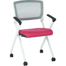 Space Pulsar Folding Chair with Breathable Mesh Back and Mesh Fabric Seat - Set of 2 - Pink