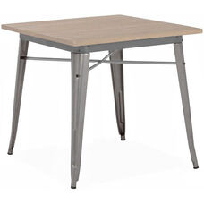 Dreux Clear Gunmetal Finish Steel Dining Table with Light Elm Wood Top
