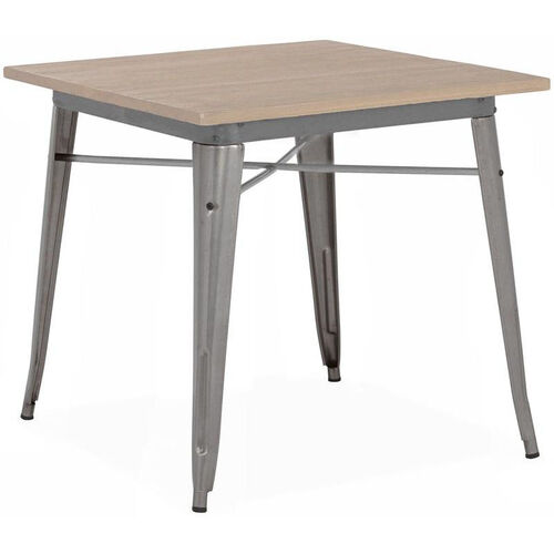 Our Dreux Clear Gunmetal Finish Steel Dining Table with Light Elm Wood Top is on sale now.