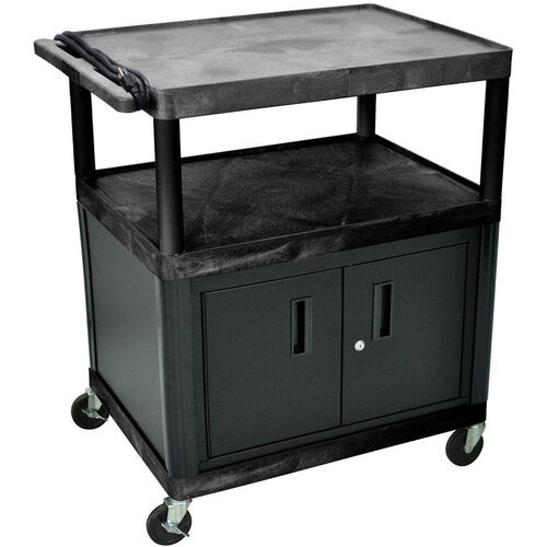 Our 3 Large Shelf High Open Shelf Mobile A/V Utility Cart with Locking Cabinet and 3 Outlet Surge - Black - 32