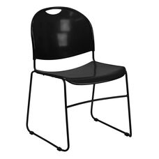 HERCULES Series 880 lb. Capacity Black Ultra-Compact Stack Chair with Black Frame