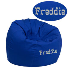 Personalized Small Solid Royal Blue Bean Bag Chair for Kids and Teens
