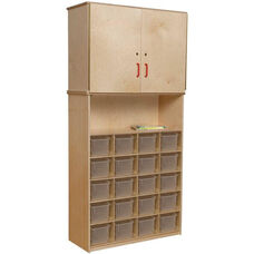 Vertical Locking Storage Cabinet with 20 Clear Plastic Trays - 36