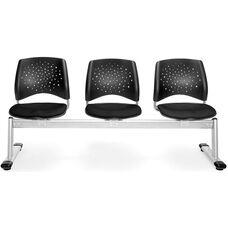Stars 3-Beam Seating with 3 Fabric Seats - Black