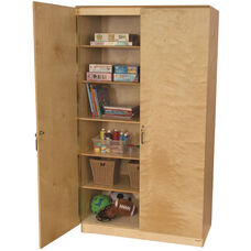 Wooden Space Saving Locking Resource Cabinet with 5 Shelves - 47
