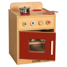 Colorful Essentials Kitchen Stove Play Station with Interior Shelves - Red